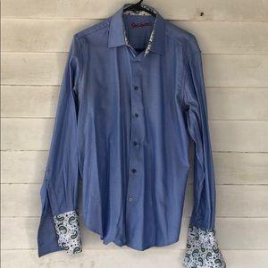 Large blue Robert graham shirt button long sleeve